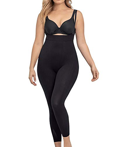 Leonisa Women's Invisible Seamless Compression Bodysuit Control Shaper with Rear Lift,L-XL,Black