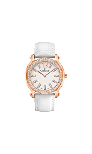 Charmex Women's EZE 31.5mm White Leather Band Steel Case Sapphire Crystal Quartz Analog Watch 6340