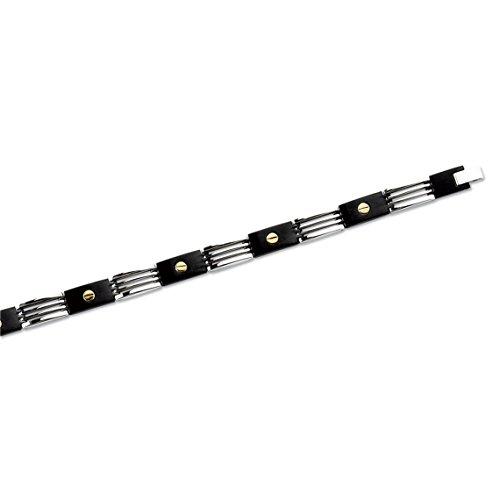 SF Bijoux - Bracelet acier et or jaune - Noir