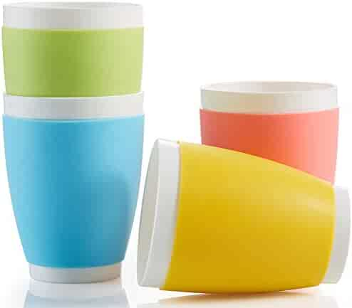 suner Plastic Kids Cups, Large Sizes, Perfect Color Bathroom Tumblers, Dishwasher Safe.
