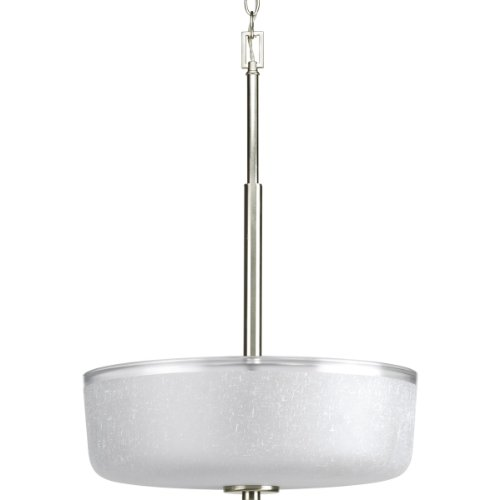 Modern Foyer Lights Progress Lighting - Progress Lighting P3846-09 3-Light Foyer with White Linen Finished Glass and Clear Edge Accent Strip, Brushed Nickel