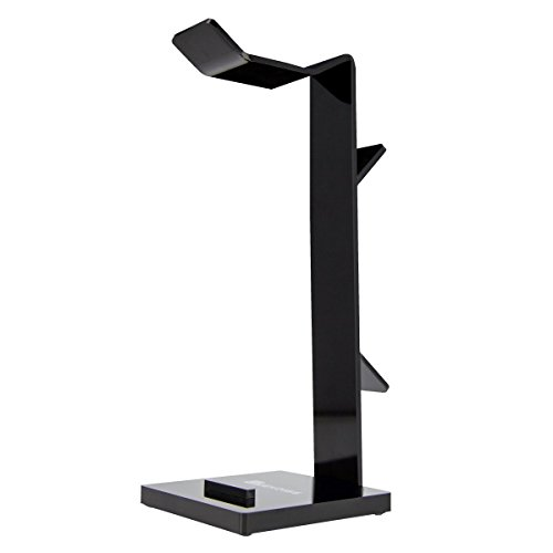 Geekdigg Gaming Headset Headphone Stand Holder with Cable Organizer & Cellphone Stand - Black