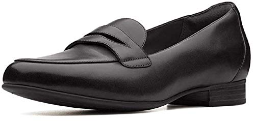 CLARKS Women's Un Blush Go Penny Loafer, Black Leather, 70 M US