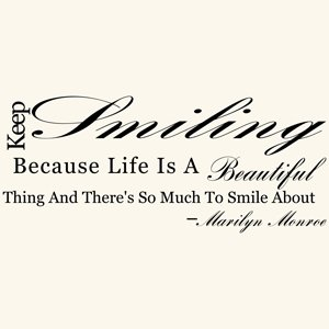 Amazoncom Keep Smiling Marilyn Monroe Quote Wall Decal Sticker