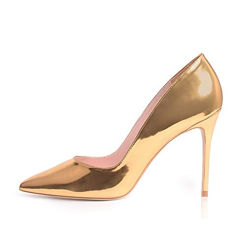 GENSHUO High Heel, 10cm/3.94 Inch Stiletto High Heel Shoes for Women Pointed Toe Party Evening Dress Pumps Prom (6 M US, Gold)