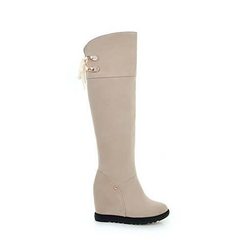 Solid Frosted Beige Lace Toe Heels Boots up High Women's Closed AmoonyFashion Round gaSCCn