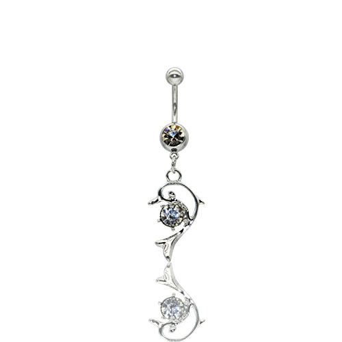 Dolphin Dangle Surgical Steel Belly Button Ring 14G 3/8 bar Length With Cubic Zircone Stone