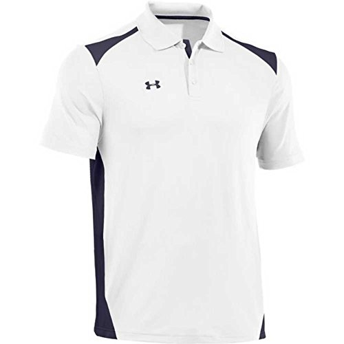 Under Armour Men's Team Colorblock Polo, White/Midnight Navy, Small