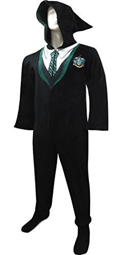 Harry Potter Slytherin House Uniform Hooded Footie Pajama for men (Large)