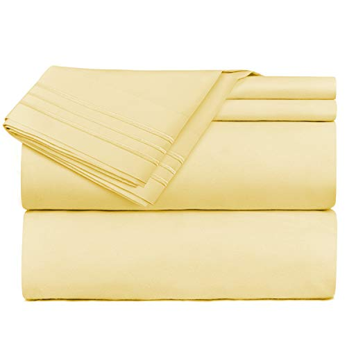 Nestl Bedding Bed Sheet Bedding Set, King Size, Mustard Yellow, 100% Soft Brushed Microfiber Fabric with Deep Pocket Fitted Sheet, 1800 Luxury Bedding Collection, Wrinkle Free Bedroom Linen ()