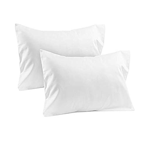 Ambition Home Kids' Decorative Pillows & Covers Set of 2 - Toddler Travel Pillowcase 500 Thread Count 14 X 20 Size White Solid, with 100% Egyptian Cotton Zipper