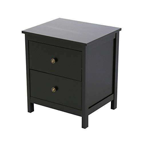 Kinbor Bedroom Night Stand with 2 Drawers Black, Accent End Table Side Table Beside Sofa Black for Living Room ()