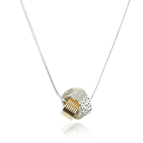 Two Tone Love Knot Pendant Necklace 925 Sterling Silver & 14k Gold Filled, 18