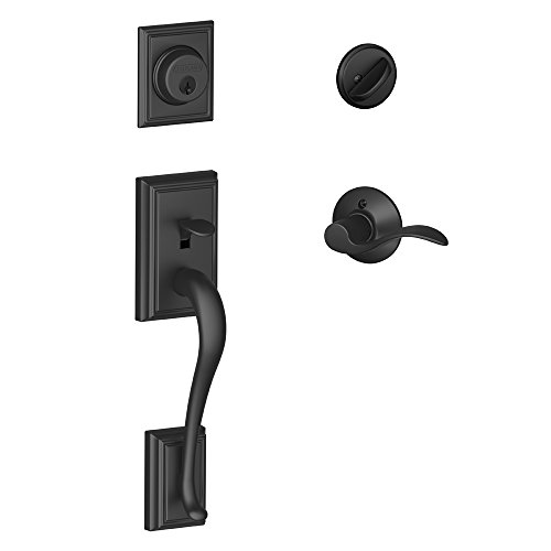 Schlage Lock Company Addison Single Cylinder Handleset and Left Hand Accent Lever, Matte Black (F60 ADD 622 ACC LH) ()