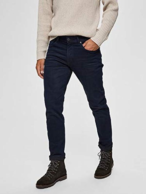 Selected dżinsy męskie SLHSTRAIGHT-Scott 6155 - Straight Fit - niebieskie - Blue Black Denim: Odzież