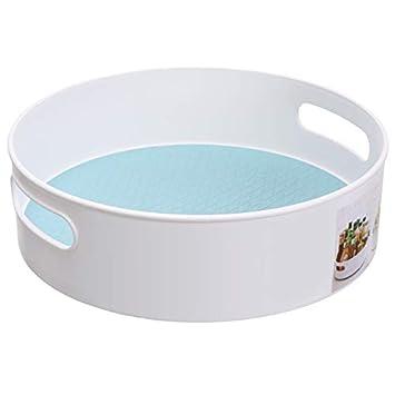 spezie multifunzionale bagno rotondo s White/&blue condimenti organizer da cucina girevole in plastica per dispensa mensole bancone toeletta Dangshuo tavoli frutta