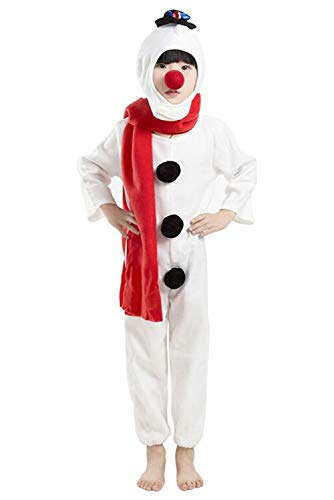 SUPERCOS Kids Plush Snowman Costume Christmas Snowman Onesie Pjs Pajamas (110 (4T - 5T)) for $<!--$21.99-->