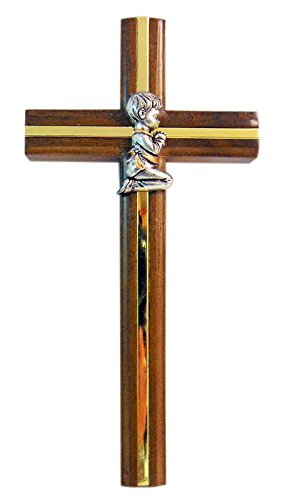 Boys Baptism Wall Cross Wooden Overlay with Brass Interior 7 Inches Long