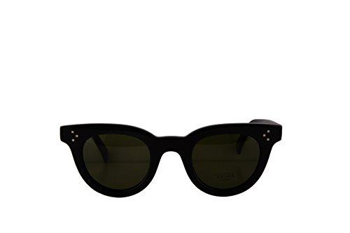 Celine CL41375/S Sunglasses Black w/Green Lens 44mm 8071E CL41375S CL - Black Original Celine Sunglasses
