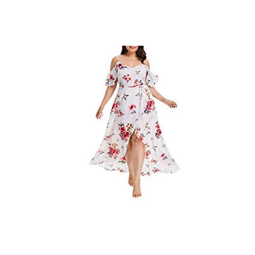 (Miuye Prom Dresses Plus Size Women Casual Short Sleeve Cold Shoulder Formal Dress Boho Flower Print Long Dress White)