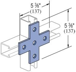 Genuine Unistrut P1028-EG 5 Hole Flat Plate Cross Bracket Connector for All 1-5/8