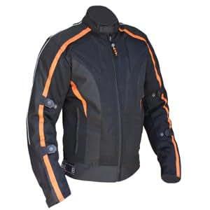 Australian Bikers Gear chaqueta Chicane de Cordura ligera y robusta con protecciones extraíbles en color Negro/Naranja TALLA 2XL