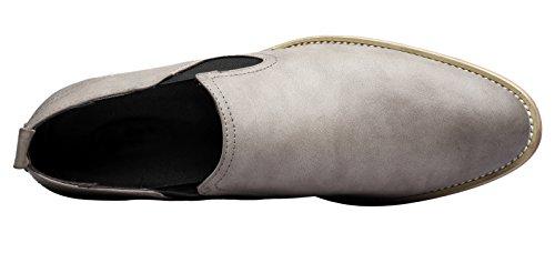 Santimon Klänning Slip På Dagdrivare Mens Skor Klassiska Läder Spetsig Tå Formella Skor Med Läderfoder Grå