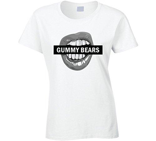 Gummy Bears Box Logo Bite Fun Food Gift T Shirt L White (Bear Bite Shirt)