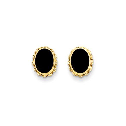 Oval Black Earrings Onyx (Oval Black Onyx Post Earrings in 14k Yellow Gold)