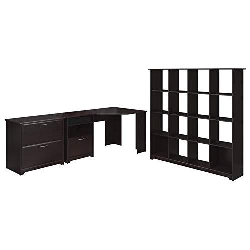 Bush Furniture Cabot Corner Desk, 16 Cube Bookcase and Lateral File Cabinet in Espresso Oak