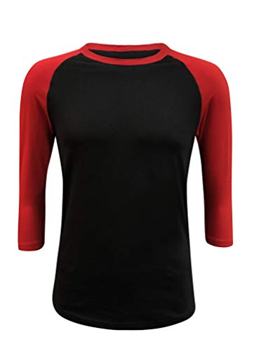 ILTEX Raglan Tshirt 3/4 Sleeve Athletic Baseball Jersey Unisex (Black/Red, Medium)