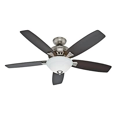 Hunter 53175 Banyan 52-Inch Brushed Nickel Ceiling Fan with Five Dark Walnut/Medium Walnut Blades and a Light Kit