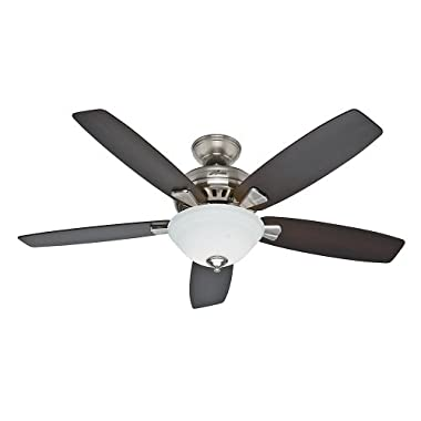 Hunter Fan Company 53175 Banyan 52-Inch Brushed Nickel Ceiling Fan with Five Dark Walnut/Medium Walnut Blades and a Light Kit