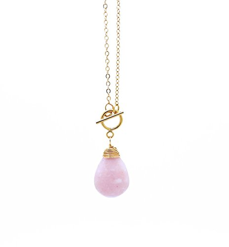 14K Gold Filled Peruvian Pink Opal Necklace with Toggle ()