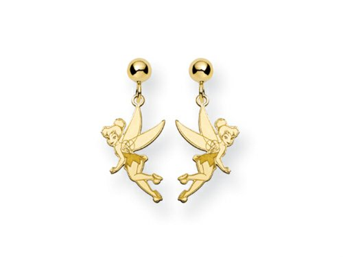 Disney Tinker Bell Dangle Post Earrings Gold Plated (Disney Tinkerbell Earrings)