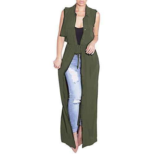 Color del Green las sin Invierno abajo de largo XXL Chaleco mujeres tamaño Outwear chaleco ZFFde sólido abierto frente abotona mangas fqzFaFT