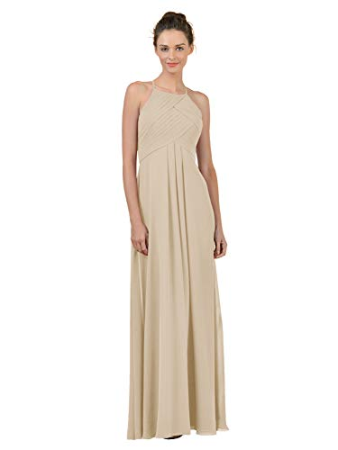 Alicepub Long Chiffon Plus Size Bridesmaid Dress Maxi Evening Gown A Line Plus Party Dress, Champagne, US10 from Alicepub