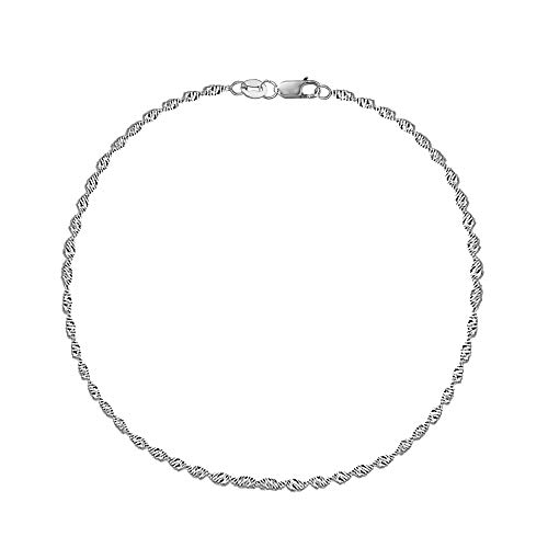 Ritastephens 14k Real White Gold Singapore Sparkle Ankle Anklet Lobster Lock 10 Inches