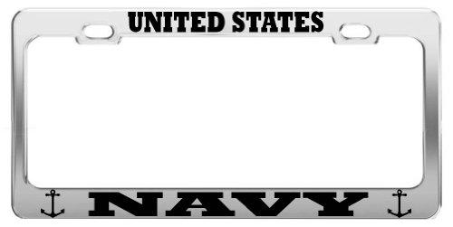 UNITED STATES NAVY UNITED STATES U.S. ARMY STEEL LICENSE PLATE FRAME TAG (Navy License Plate Frame)