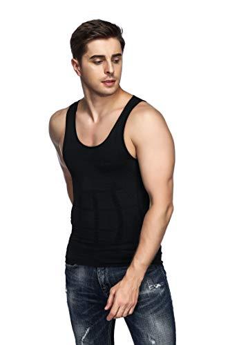 094b8bf3f2 Odoland Men s Body Shaper Slimming Shirt Tummy Waist Vest Lose Weight Shirt
