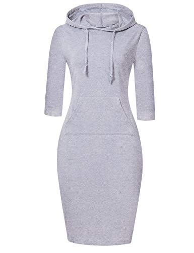 MISSKY Women Stripe Pocket Knee Length Slim Sweatshirt Casual Pullover Hoodie Dress (S, Grey White10#)