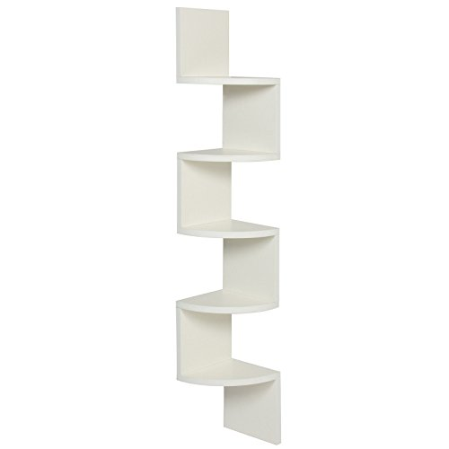 LTL Shelf White Corner Wood Zig Zag Wall Home Decor Furniture