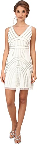 Adrianna Papell Women's Short Beaded Cocktail Dress w/ V Neck Ivory Dress 10