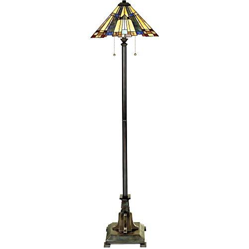 Quoizel TFF16191A5VA Inglenook Stained Glass Tiffany Floor Lamp, 2-Light, 150 Watts, Valiant Bronze (62