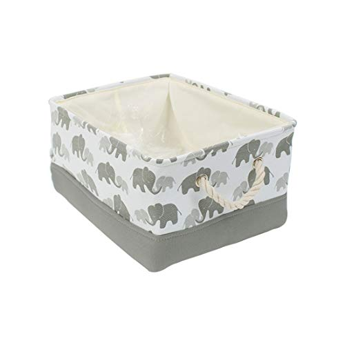 uxcell Storage Bins with Rope Handles, Collapsible Laundry Basket for Toy Clothes Towel Organizer, Fabric Decorative Baskets (Medium – 14.2″ x 10.2″ x 6.7″), Grey Elephant