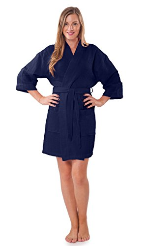- Turquaz Linen Lightweight Knee Length Waffle Kimono Bridesmaids Spa Robe (Small/Medium, Navy Blue)