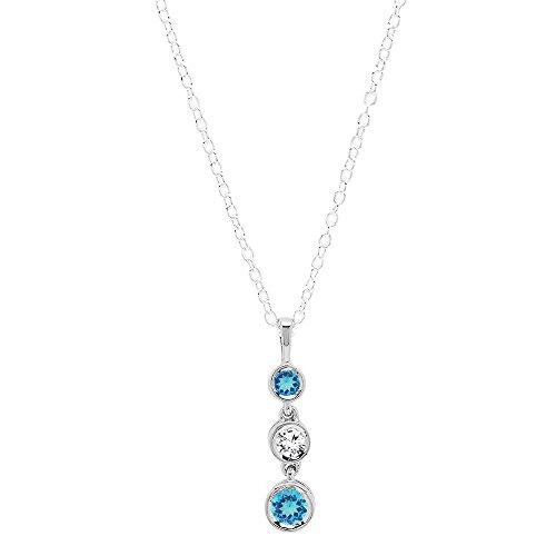 Dazzlingrock Collection 14K Round Cut Blue Topaz & White Diamond Ladies Graduating Journey of Life Pendant, White Gold
