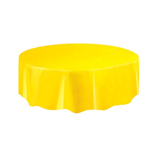 Yellow Round Plastic Tablecloth 84