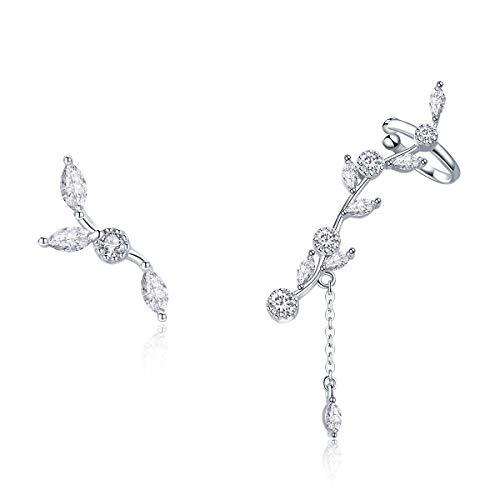 BAMOER 925 Sterling Silver Ear Crawler - Cuff Earrings Cubic Zirconia Ear Climber Earrings for Women Christmas Gift (Crawler Cuff Earrings)