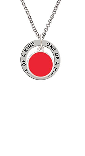 1 Red Enamel Disc (Small Red Enamel Disc - One of a Kind Affirmation Ring Necklace)